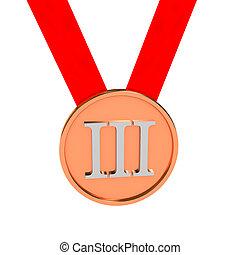 上に, メダル, 白い背景