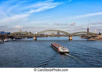 上に, ライン, ドイツ, 水泳, オーデコロン, てんま船, hohenzollern 橋