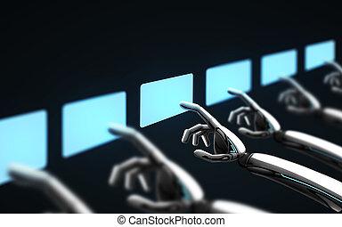 上に, ロボット, 事実上, スクリーン, 感動的である, 黒, 手
