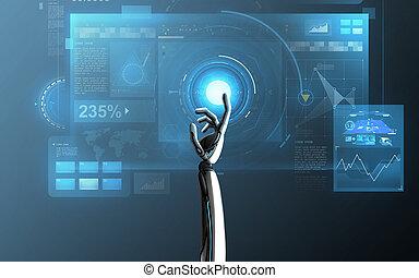 上に, ロボット, 事実上, 手がスクリーンに触れる, 青