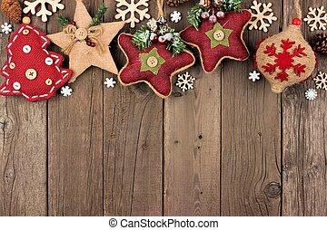 上に, 上, 装飾, 無作法, 木, ボーダー, クリスマス