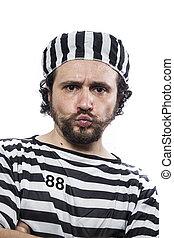 上に, 不法入国者, 服装, 背景, 刑務所, 囚人, 肖像画, 白, 絶望的, 人
