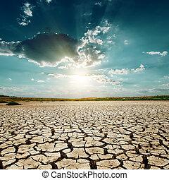 上に, 世界的である, 日没, warming., 砂漠
