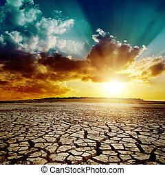 上に, 世界的である, warming., 劇的, 日没, 地球, 割れた