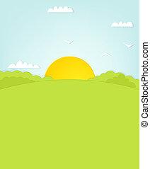 上に, 丘, 日の出