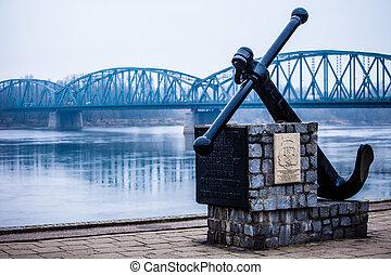 上に, 交通機関, -, river., infrastructure., 有名, 橋, torun, ポーランド, vistula, トラス