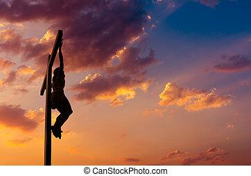 上に, 劇的な 空, はりつけ, イエス・キリスト