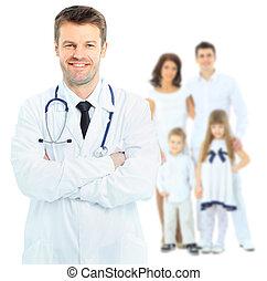 上に, 医者。, 隔離された, 医学, 背景, 微笑, 白