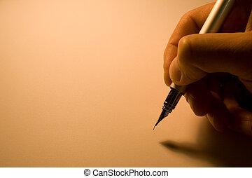 上に, 古い, ペン, 背景, 手
