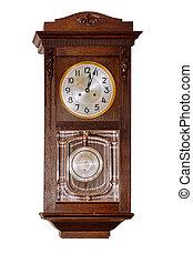 上に, 古い, 白, 時計