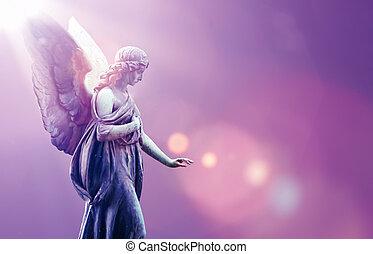 上に, 天国, 天使, 空, 背景, 紫色