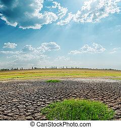 上に, 太陽, 干ばつ, 土地, 暑い