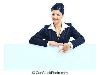 上に, 女性ビジネス, 看板, 提示, 若い, 隔離された, 背景, ブランク, 白, 幸せに微笑する