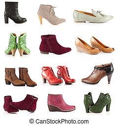 上に, 女性, 靴, footwear., 白