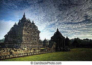 上に, 寺院, 日の出