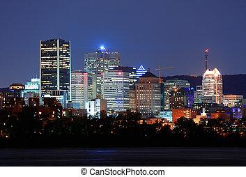 上に, 川, モントリオール, 夕闇