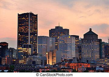 上に, 川, 日没, モントリオール