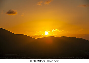 上に, 日の出, 山, playa, lanzarote., 見られた, blanca, 火山