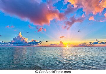 上に, 日の出, 海洋