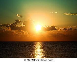 上に, 日の出, 海