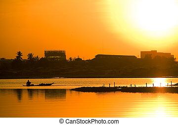 上に, 日没, アジア人, 湖