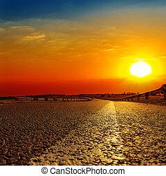 上に, 日没, アスファルト坑道, 赤