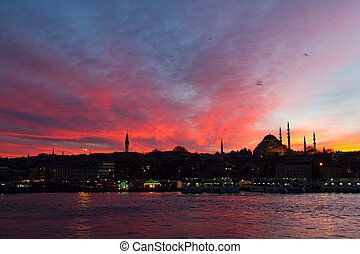 上に, 日没, イスタンブール, eminonu