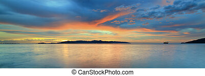 上に, 日没, カラフルである, 海洋