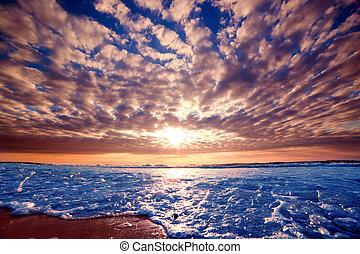 上に, 日没, ロマンチック, 海洋