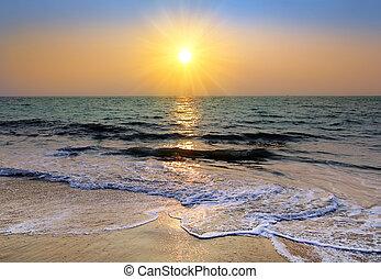上に, 日没, 海