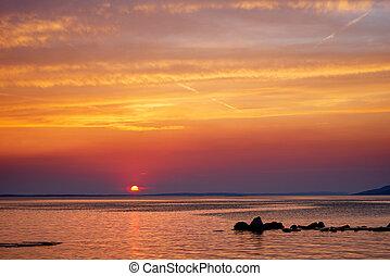 上に, 日没, 海, adriatic, starigrad, 美しい, croatia