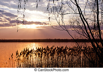上に, 日没, 湖