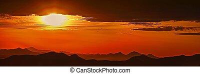 上に, 日没, 砂漠
