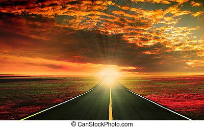 上に, 日没, 赤い道