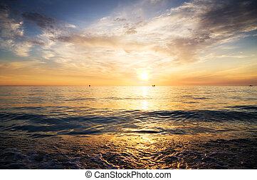上に, 日没, ocean.