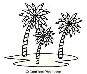 上に, 木, 砂, やし, 黒, 白, 漫画, アイコン