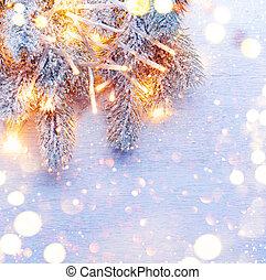 上に, 木, 装飾, 木, 背景, 白, 休日, クリスマス