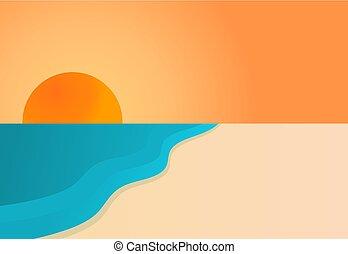 上に, 浜。, 日没, 海