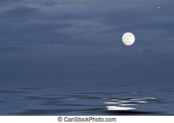 上に, 満月, 海洋