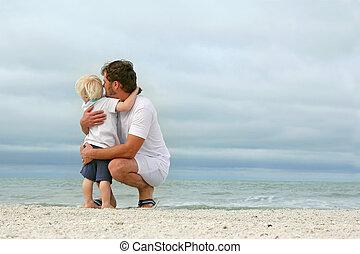 上に, 父, 若い, 海洋, 見る, 息子, から