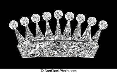 上に, 王冠, 黒, 宝石, サイド光景