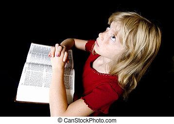 上に, 祈ること, 女の子, 聖書