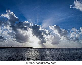 上に, 空の雲, water.