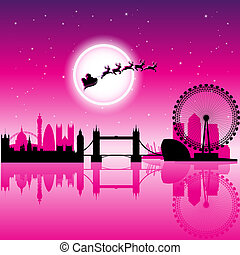 上に, 空, イラスト, ベクトル, ロンドン, santa, 夜, マゼンタ