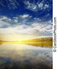 上に, 空, 水, 暑い, 日没, すてきである