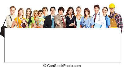 上に, 背景, 人々。, 微笑, グループ, 大きい, 白