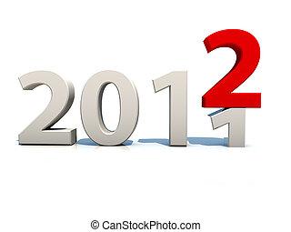 上に, 背景, 年, 新しい, 白, 2012
