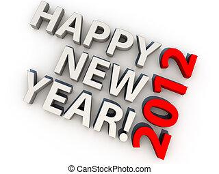 上に, 背景, 年, 2012, 新しい, 白, 幸せ