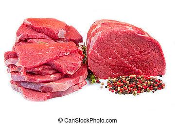 上に, 背景, 隔離された, チャンク, ステーキ, 巨大, 肉, 赤い白