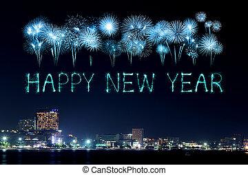 上に, 花火, 祝う, 年, 新しい, pattaya, 浜, 幸せ